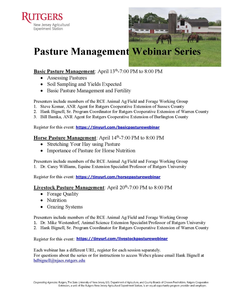 Pasture Management Webinar Series