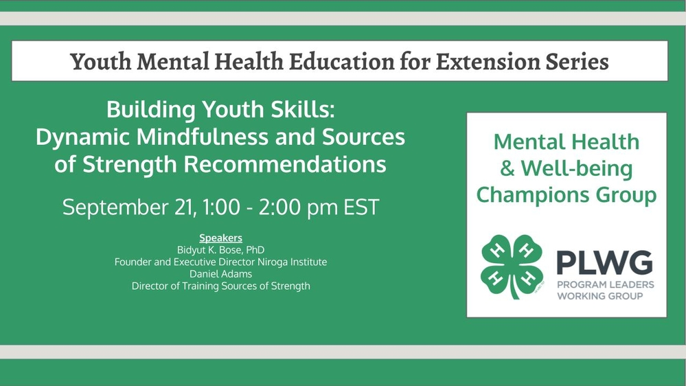 Youth Mental Health Education for Extension Series - Sources of Strength & Dynamic Mindfulness Recommendations